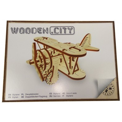 3D Пъзел Wooden city Самолет (Biplane) wooden