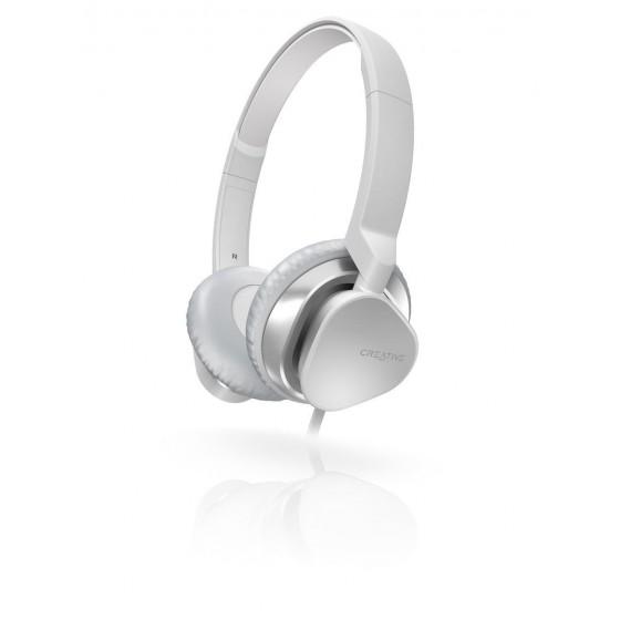 Стерео слушалки Creative MA2300, Плосък кабел, Микрофон, Бял